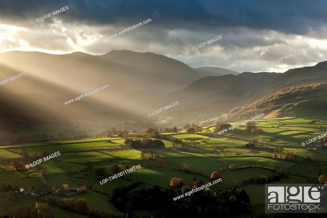 Stock Photo: Rays of sunlight in the Lake District.