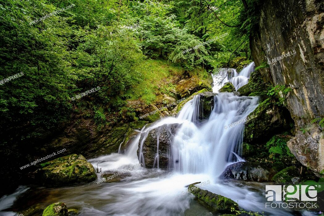 Stock Photo: Tranquil forest waterfall, Ybbsitz, Austria.