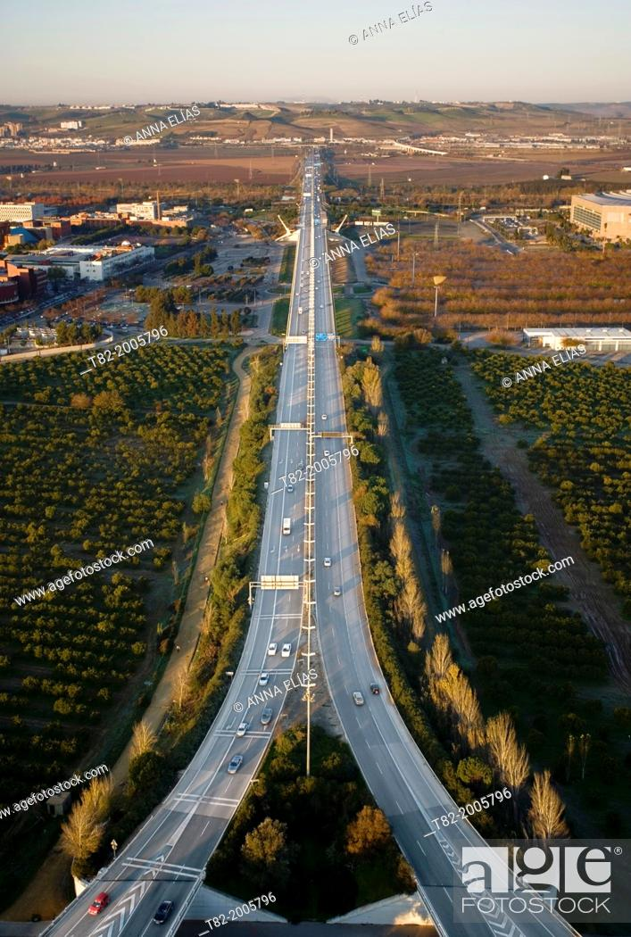 Stock Photo: Aerial view of several roads from the Alamillo Bridge in Seville, Andalucia, Spain, Europe.