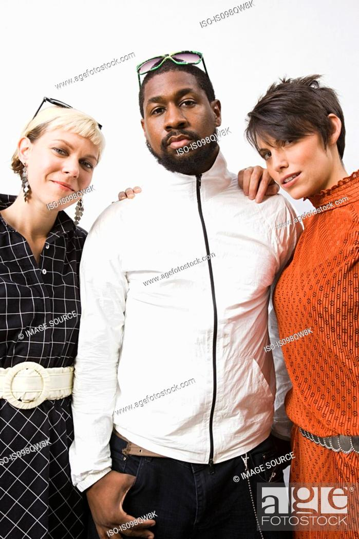 Stock Photo: Man with two women.