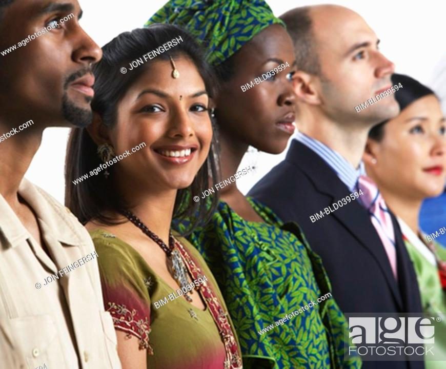 Stock Photo: Multi-ethnic people in traditional dress.