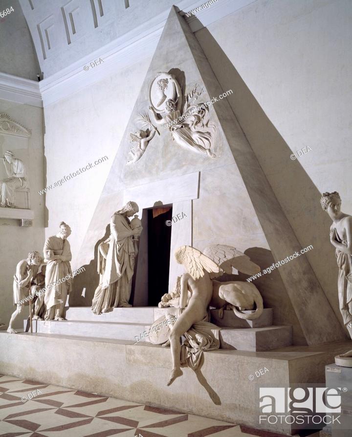 Stock Photo: Maria Christina of Austria funerary monument, by Antonio Canova (1757-1822), model.  Possagno, Gipsoteca Museo Canoviano (Art Museum).