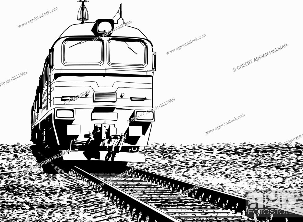 Stock Vector: Vector illustration of a Russian locomotive with ground grunge as a removable separate layer.