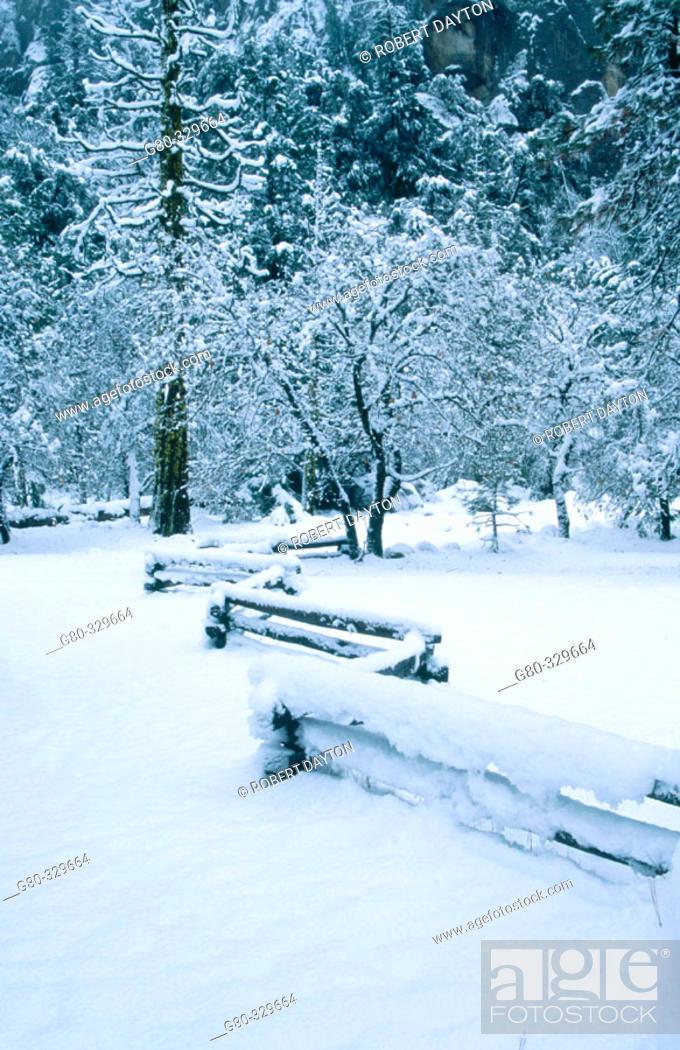 Stock Photo: Split-rail fence. Yosemite National Park. California. USA.
