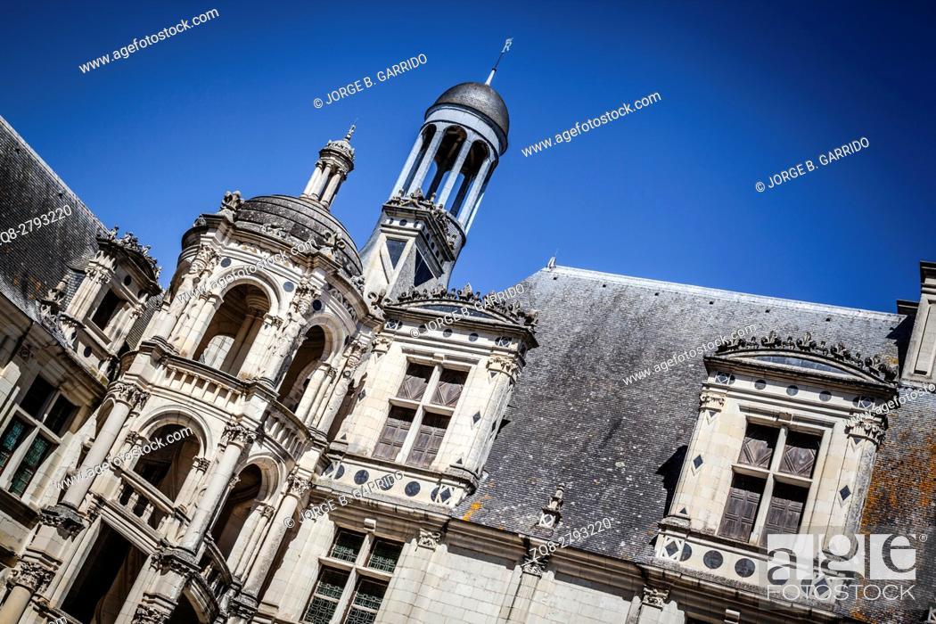 Stock Photo: The royal Chateau de Chambord at Chambord, Loir-et-Cher, France.