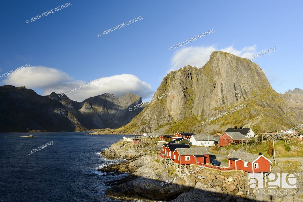 Stock Photo: Fishing village of Reine, Moskenesøya island, Lofoten archipelago, county of Nordland, Norway, Europe.