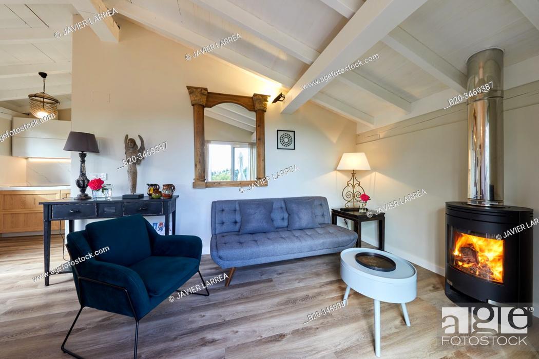 Stock Photo: Living room, Apartment in rural house, Deba, Gipuzkoa, Basque Country, Spain, Europe.