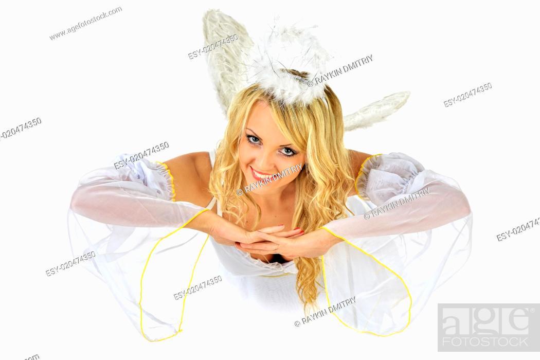 Stock Photo: Beautiful blonde in masquerade costume of angel.