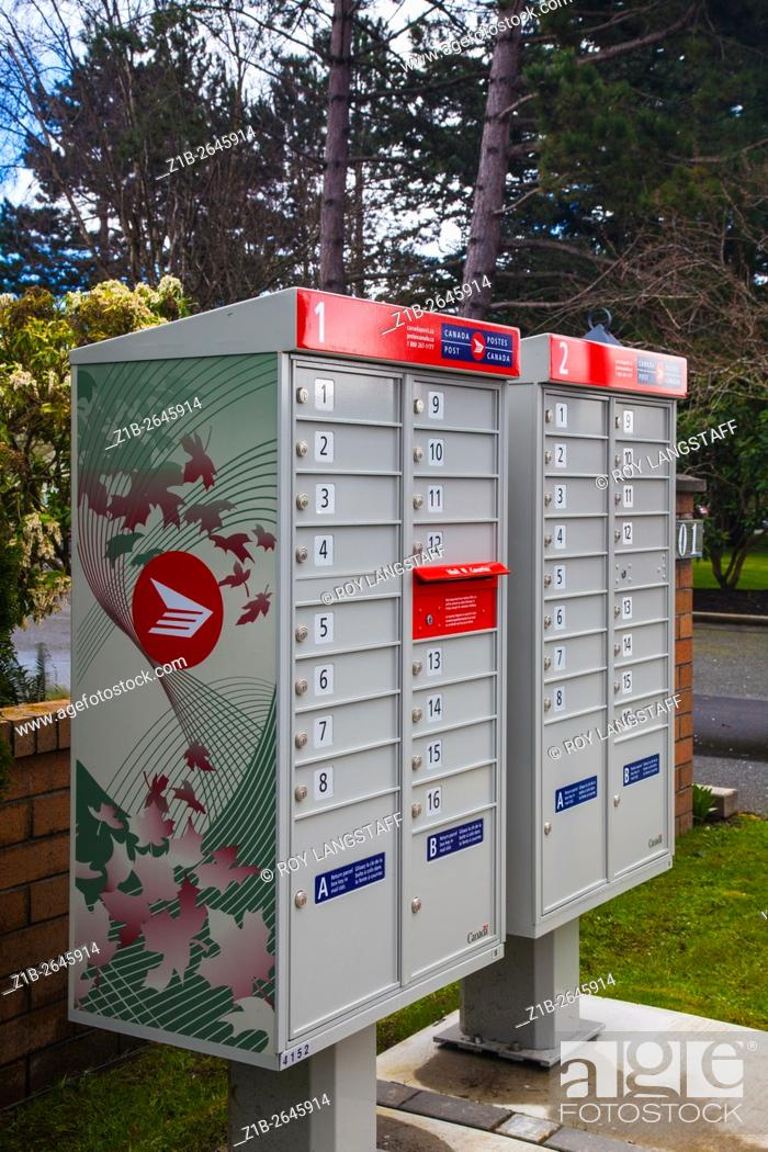 Stock Photo: New design of neighbourhood mail boxes from Canada Post.