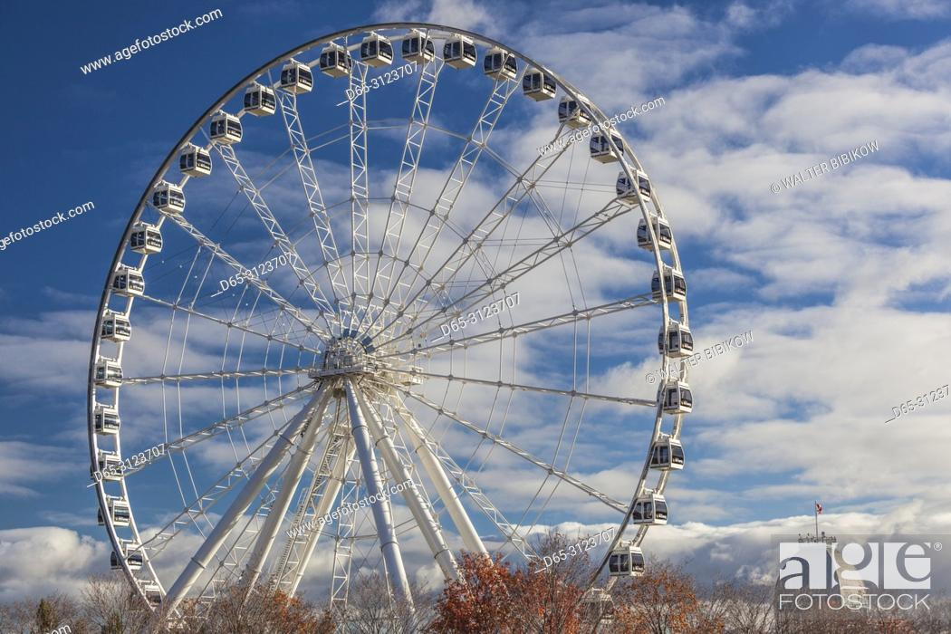 Imagen: Canada, Quebec, Montreal, The Old Port, The Montreal Observation Wheel, autumn.