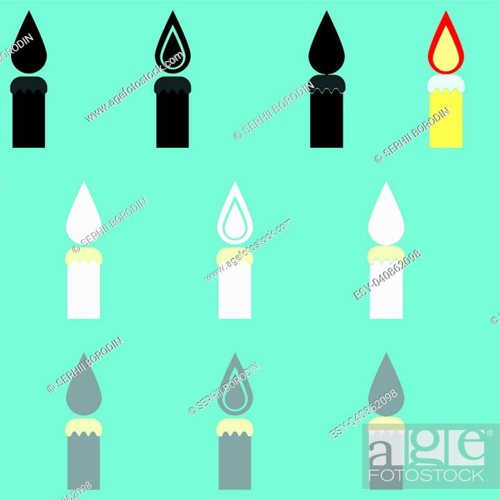 Vector: Candle different colour it is icon set.