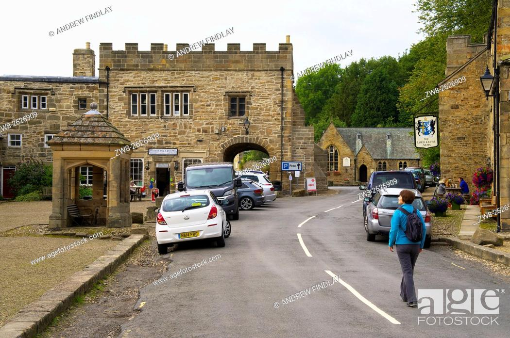Stock Photo: Blanchland Abbey Gatehouse & Village Square, Blanchland. North Pennines Area of Outstanding Natural Beauty, Northumberland, England, United Kingdom, Europe.