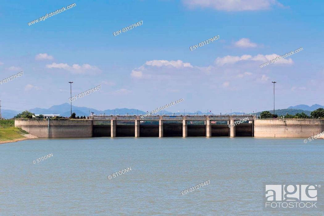 Stock Photo: Pa Sak Jolasid Dam in Lopburi , Thailand.