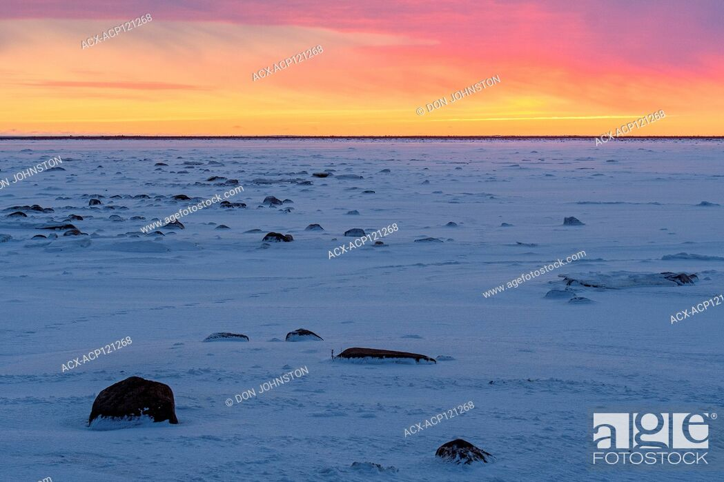 Stock Photo: Sunset skies over Hudson Bay at freeze-up.