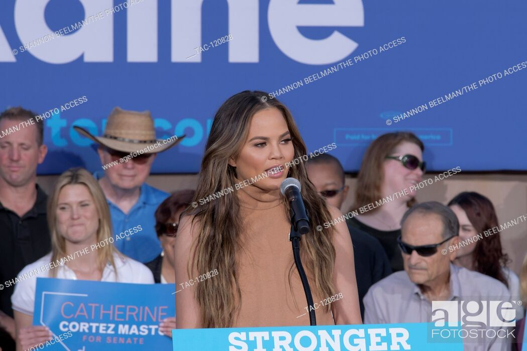 Stock Photo: Chrissy Teigen speaks at the Stronger Together Ralley on October 4th, 2016 at the Springs Preserve in Las Vegas, NV.