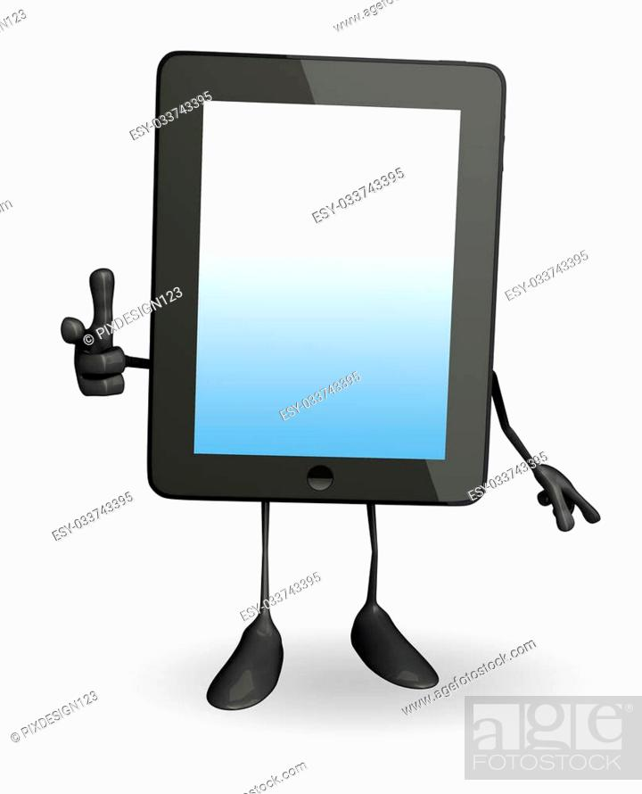 Stock Photo: Cartoon character of tab with pointing pose.