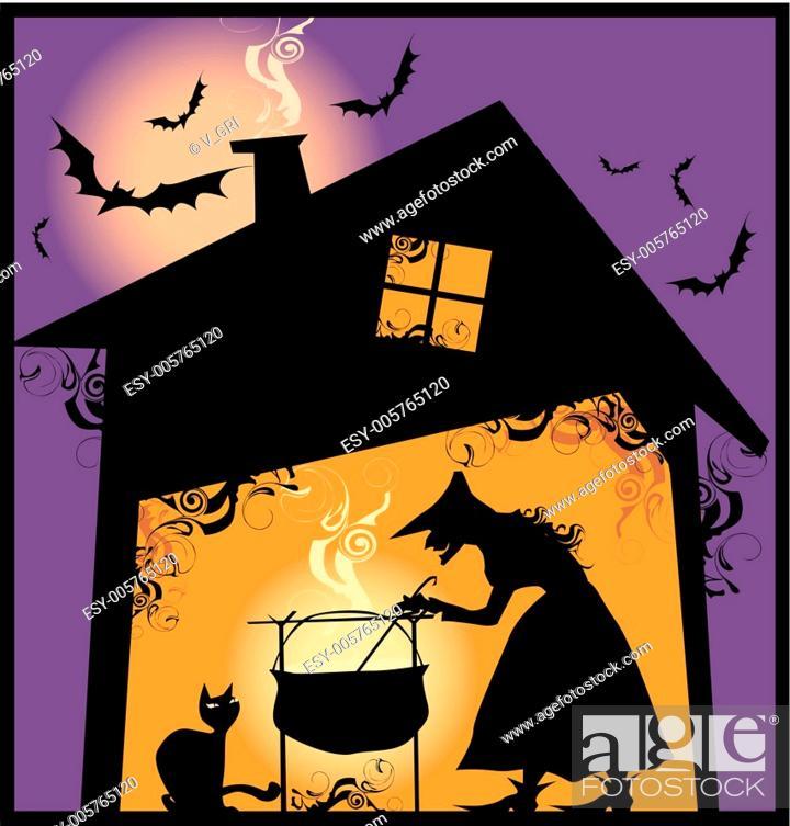 Stock Vector: Halloween supper.
