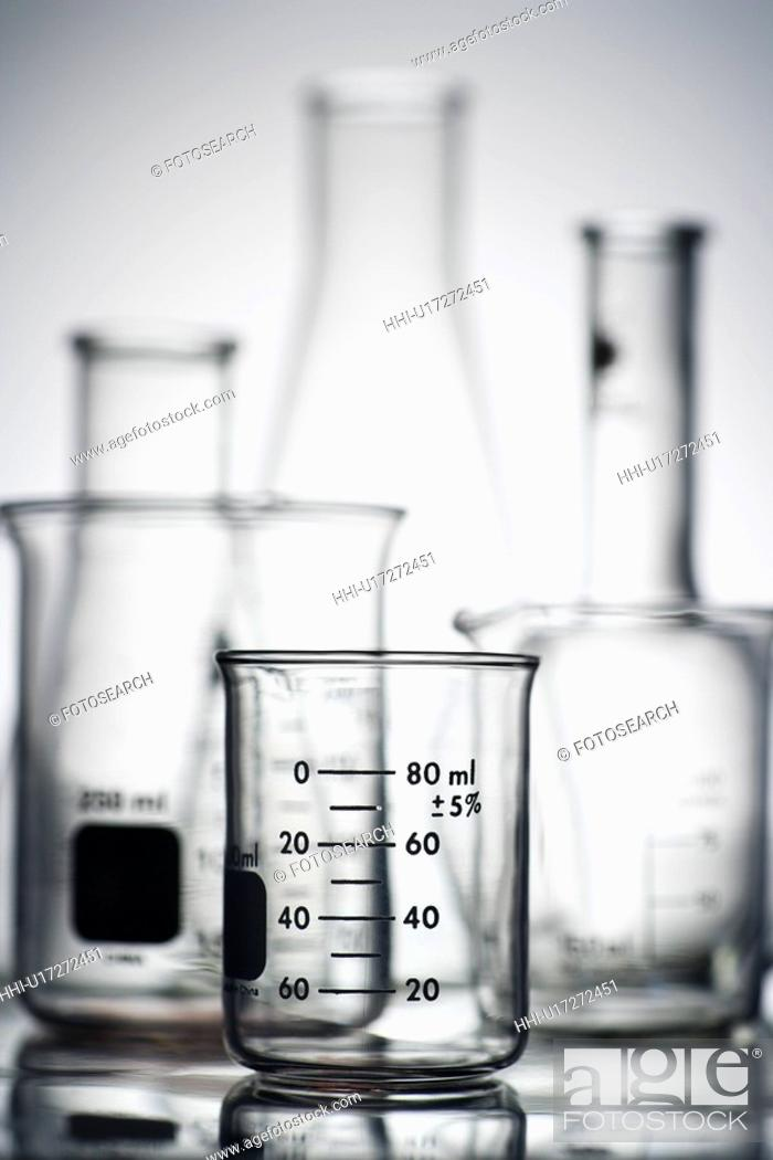 Stock Photo: Glass science containers.