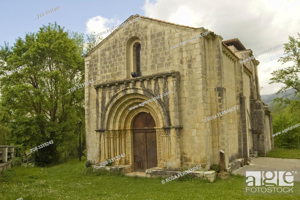 Stock Photo: Facade of Santa Maria de Siones Church, XII Century, in Romanesque style with gothic elements, Valley of Mena, Las Merindades, province of Burgos.