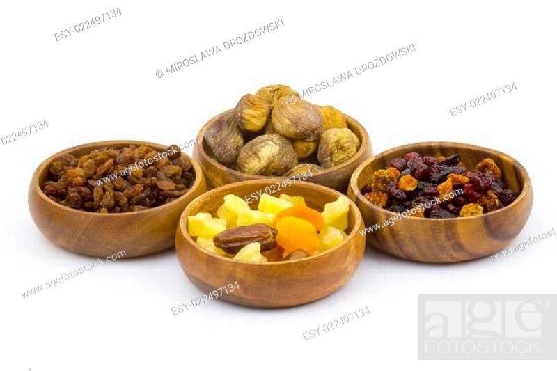 Stock Photo: different dried fruits.