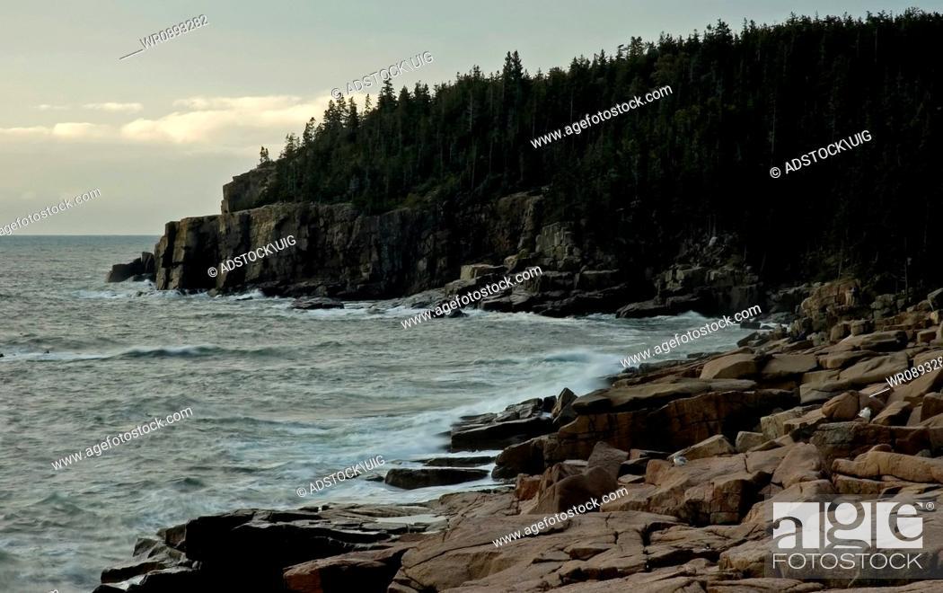 Stock Photo: Early Light on Rocky Shore, Acadia National Park, Maine.