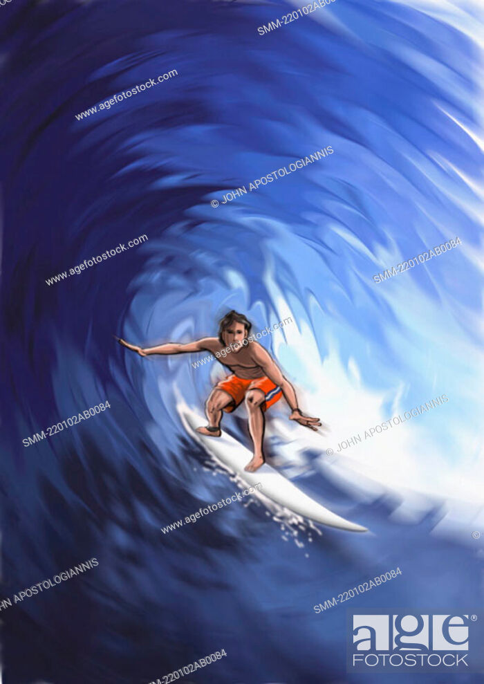 Stock Photo: Young man surfing a wave.