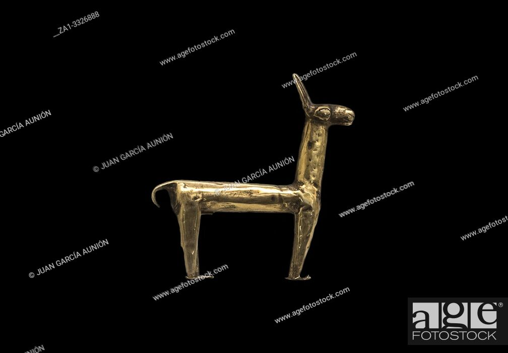 Imagen: Gold statuette depicting a llama. Museum of the Americas, Madrid, Spain.
