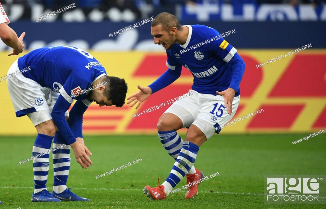 Stock Photo: 16 March 2019, North Rhine-Westphalia, Gelsenkirchen: Soccer: Bundesliga, FC Schalke 04 - RB Leipzig, 26th matchday in the Veltins Arena.