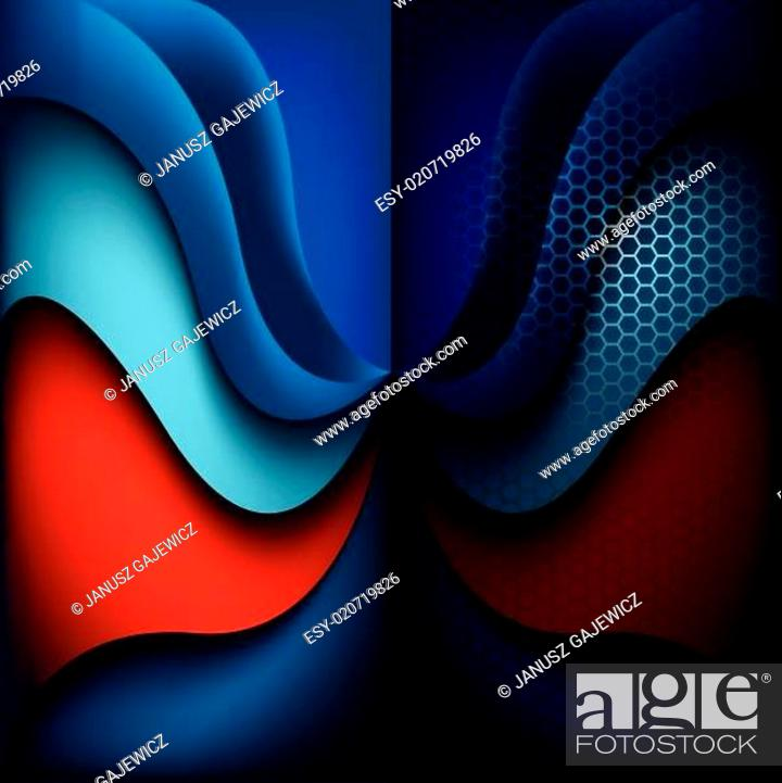 Stock Vector: Blue, Backgrounds, Shadow, Red, Abstract, Curve, Metallic, Grid, Mesh, Backdrop, Honeycomb, Grille, Grate, Grating