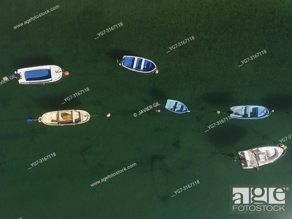 Stock Photo: Boats in the estuary of Plentzia, Bizkaia, Basque Country, Spain.
