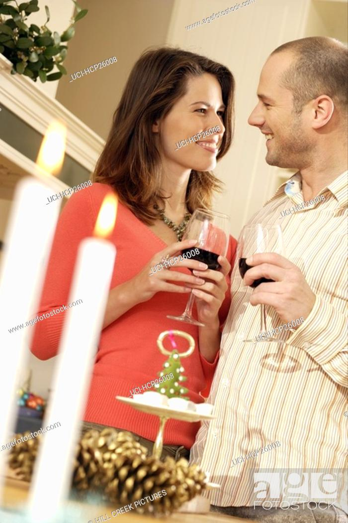 Stock Photo: Couple drinking wine together.