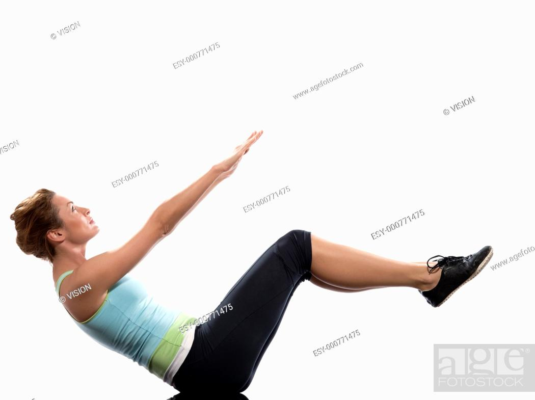 Stock Photo: woman on Abdominals workout posture on white background  Spice it up  This time bring your thighs to vertical and bend your knees to 45 degrees   Now lift the.