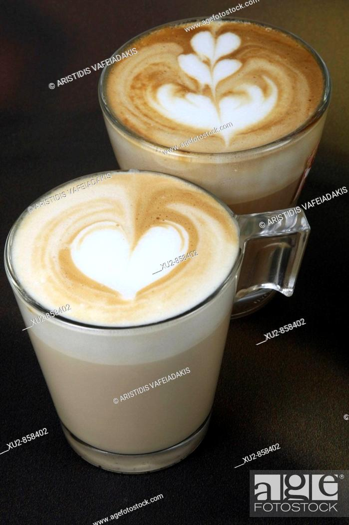 Stock Photo: latte coffee with pattern.