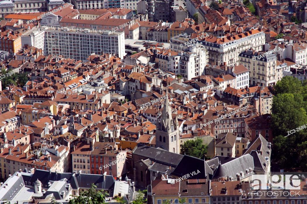 Stock Photo: Old city center of Grenoble, Historic downtown, Isere, Auvergne Rhone Alpes, France.