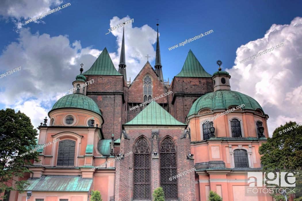 Stock Photo: Cathedral of St  John the Baptist, Ostrow Tumski, Wroclaw, Lower Silesia, Poland.