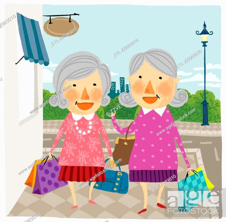 Stock Photo: Two elderly woman arriving home from shopping.