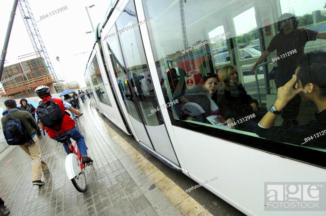 Stock Photo: Tram in Plaça de les Glories, Barcelona, Catalonia, Spain.