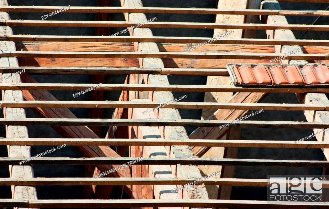 Stock Photo: Roof restoration.