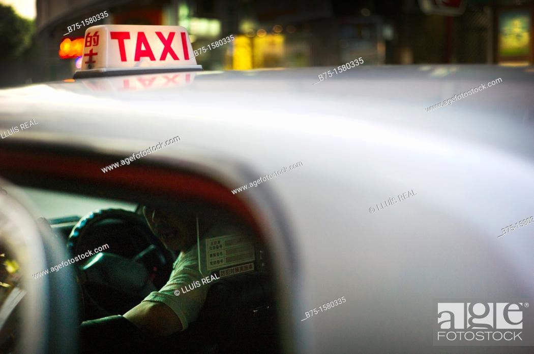 Stock Photo: Taxi, Hong Kong, China, Asia.