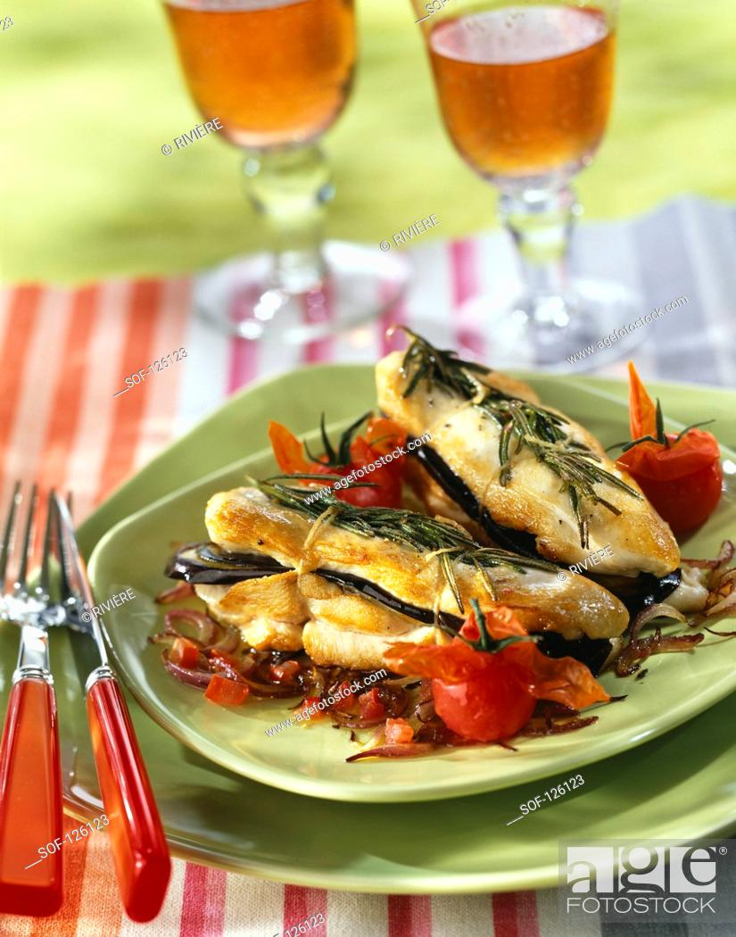 Stock Photo: Chicken breast,eggplant and rosemary sandwich.