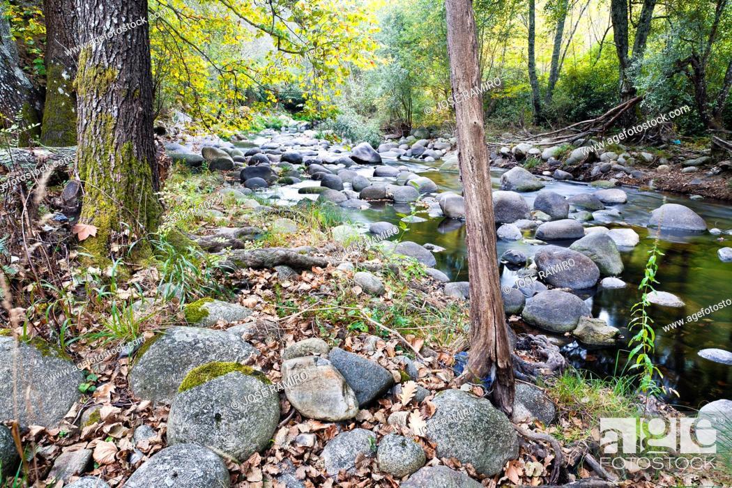 Stock Photo: Arenal river in the Sierra de Gredos  Arenas de San Pedro  Ávila  Castilla León  Spain.