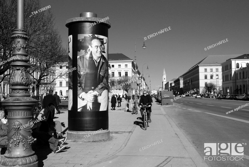 Stock Photo: Art by Bernd Eichinger poster on a Munich advertising pillar commemorates the Resigeur.