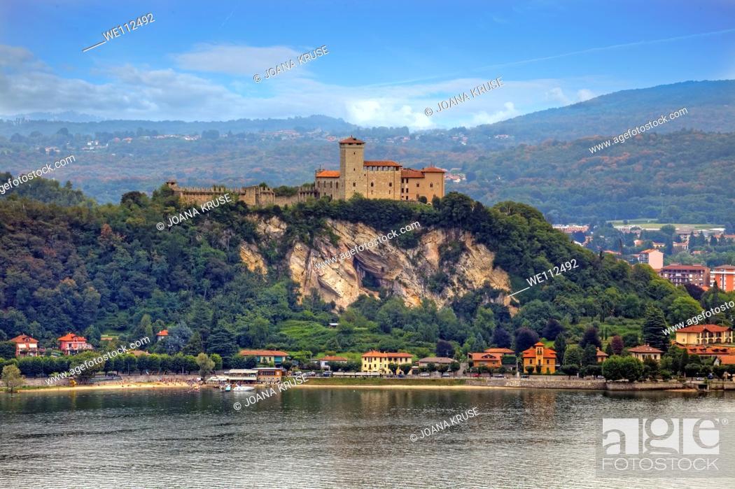 Stock Photo: Castle on Lake Maggiore in Angera, Italy.