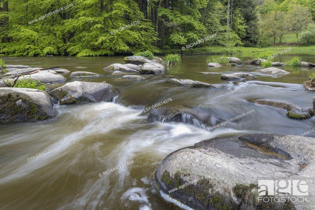 Stock Photo: river Sazava near Smrcna, Czech Republic.