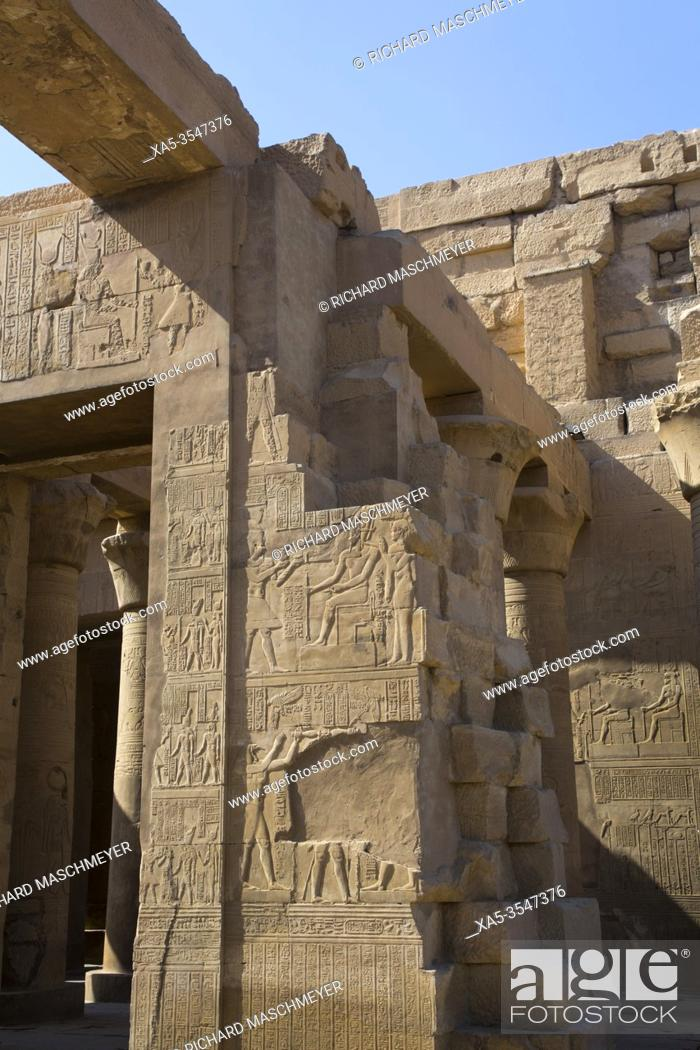 Stock Photo: Wall Reliefs, Temple of Sobek and Haroeris, Kom Ombo, Egypt.