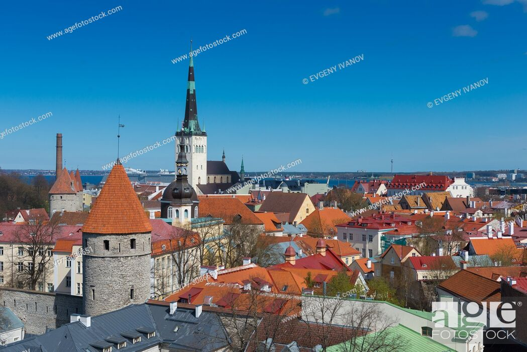 Stock Photo: Tallinn old town skyline from the top.