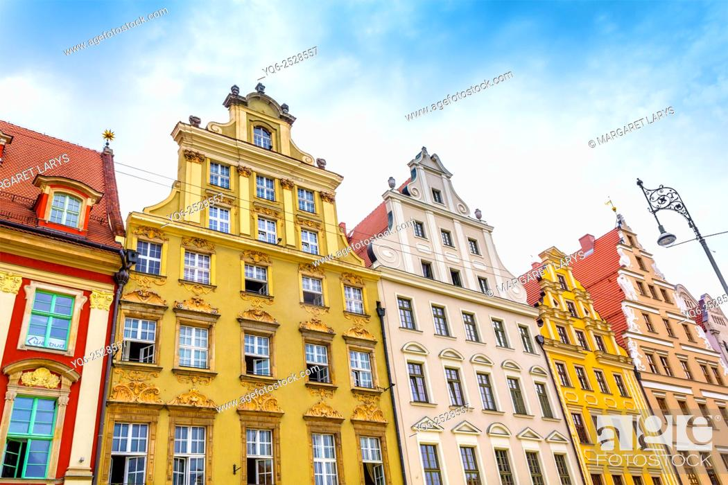 Stock Photo: Close up of old, historical tenement houses at the Old Market Square in Wroclaw, Poland.