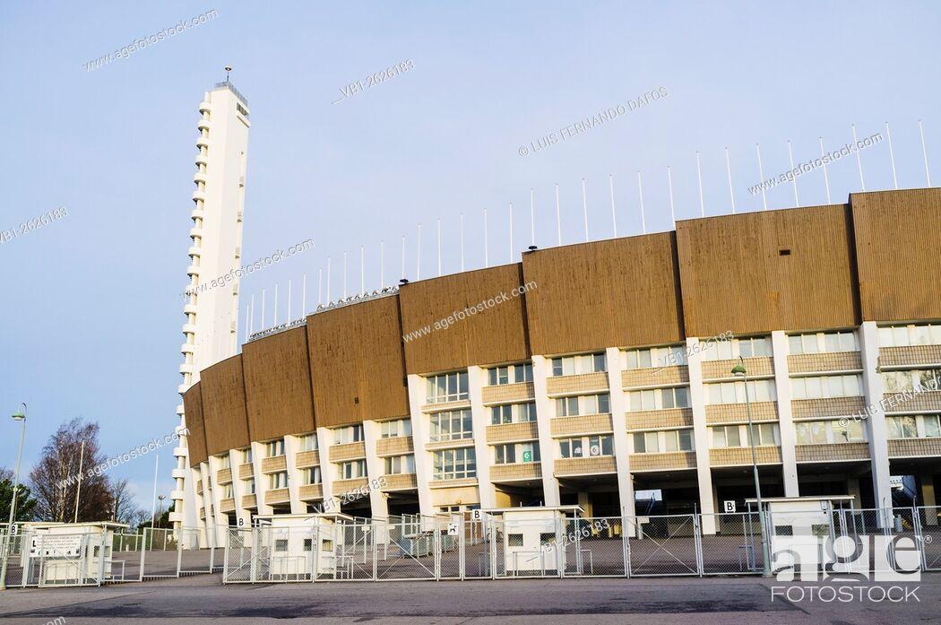 Stock Photo: Olympic Stadium (1938-50), by Yrjö Lindegren and Toivo Jäntti. Helsinki, Finland.