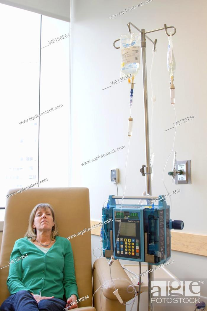 Stock Photo: Jewish woman age 56 getting chemotherapy treatment for colon cancer.