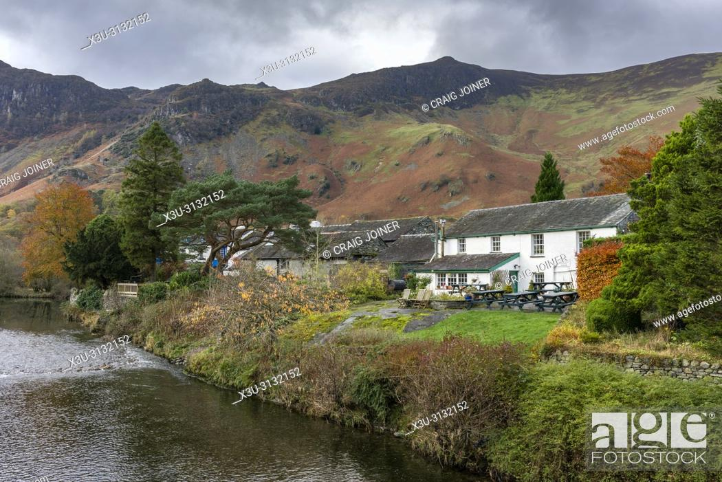 Stock Photo: Cottages at Grange overlooking the River Derwent in the Lake District National Park, Cumbria, England.